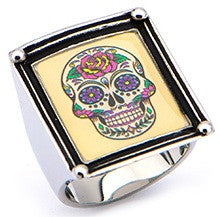Women's Stainless Steel Sugar Skull Vintage Frame Ring - Highway Thirty One - 1
