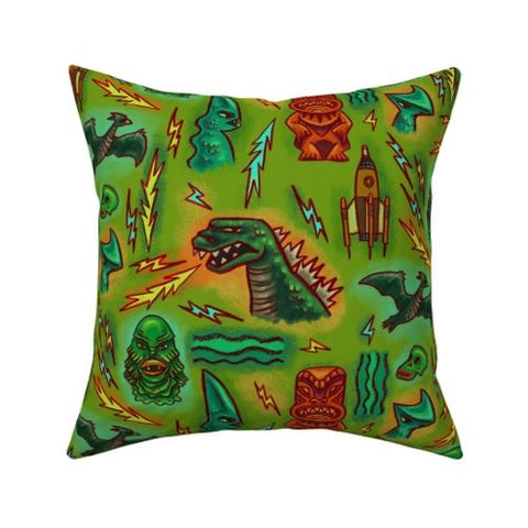 Godzilla Tiki Pillow cover 16 x 16""