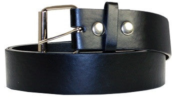 Plain Black Leather Belt - Highway Thirty One