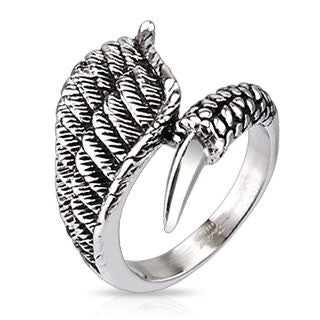 Stainless Steel Eagle Wing with Claw closure cast ring - Highway Thirty One