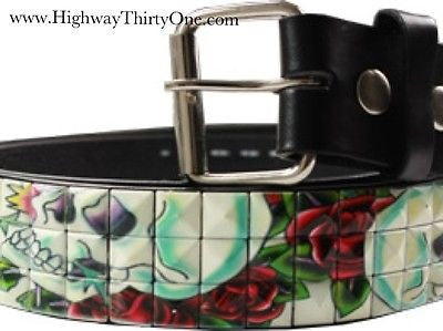 Metal Studded Skeleton belt with Roses - Highway Thirty One