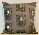 Edgar Allan Poe Zombie Horror Pillow cover 16 x 16""