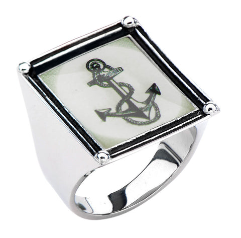 Women's Stainless Steel Anchor Vintage Frame Ring. - Highway Thirty One - 1