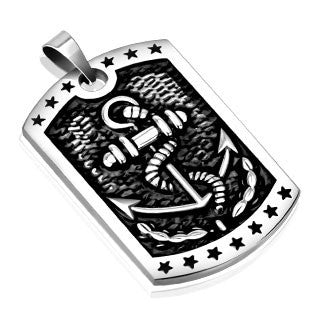 Stainless Steel Marine Anchor Cast Dog Tag Pendant - Highway Thirty One