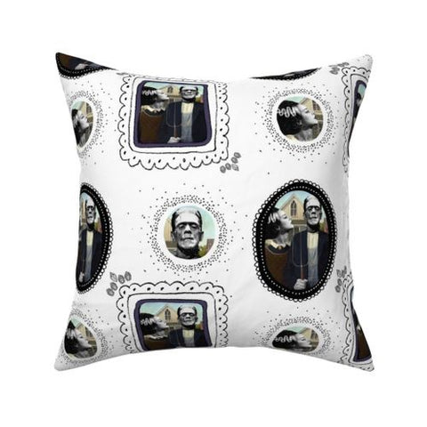 Bride of Frankenstein Horror Pillow cover 16 x 16""