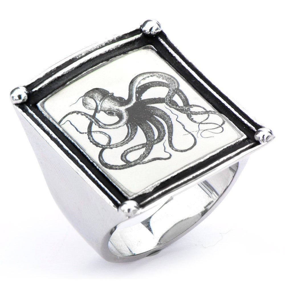 Women's Stainless Steel Octopus Vintage Frame Ring - Highway Thirty One - 1