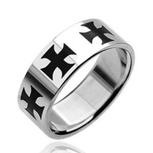 316L Stainless Steel Ring with Black Celtic Crosses Design - Highway Thirty One