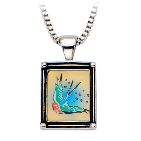 Women's Stainless Steel Necklace with Swallow Vintage Frame Pendant - Highway Thirty One