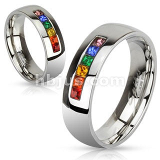 Stainless Steel Centered String of Rainbow Color Gems Band Ring - Highway Thirty One