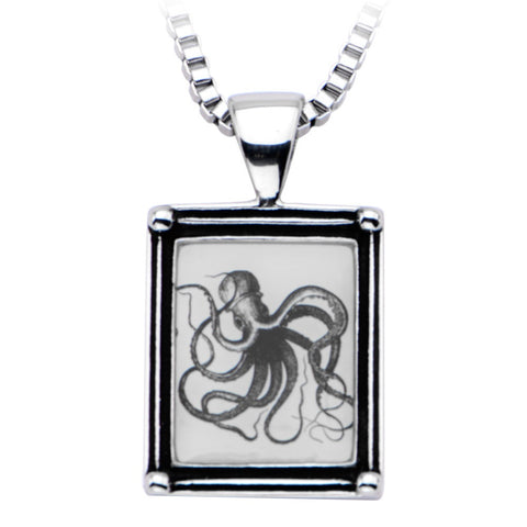 Women's Stainless Steel Necklace with Octopus Vintage Frame Pendant - Highway Thirty One