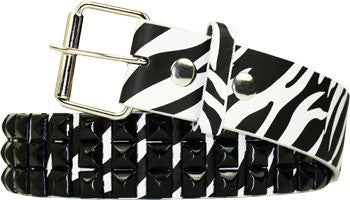Metal Studded Zebra Belt - Highway Thirty One