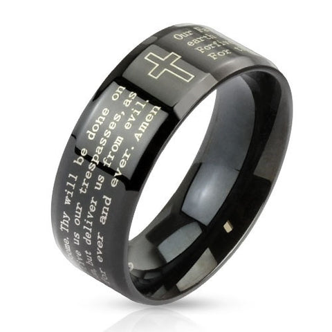 Stainless Steel Black IP with Outlined Cross and Lord's Prayer Beveled Edge - Highway Thirty One