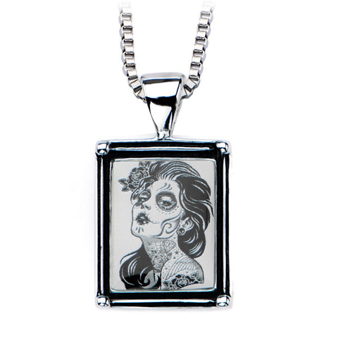 Women's Stainless Steel Necklace with Day of the Dead-Girl Vintage Frame Pendant. - Highway Thirty One