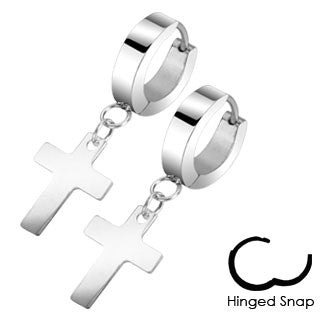 Pair of 316L Stainless Steel Hinged Hoop Earring with Cross Dangle - Highway Thirty One