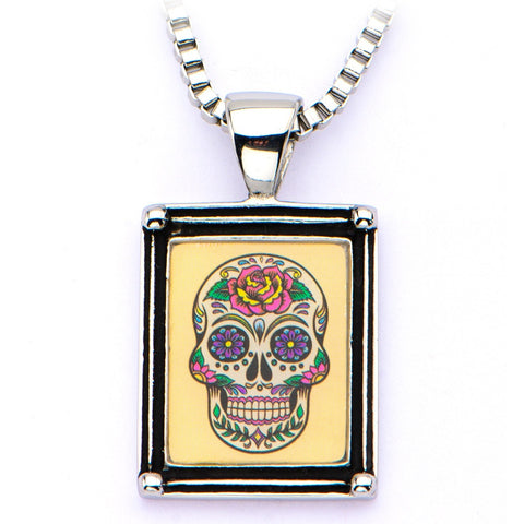 Women's Stainless Steel Necklace with Sugar Skull Vintage Frame Pendant - Highway Thirty One