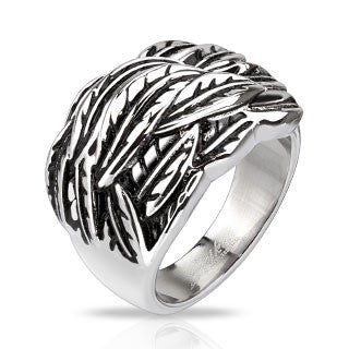 Stainless Steel Windy Feathers Cast Ring - Highway Thirty One