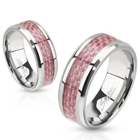 Stainless Steel Pink Carbon Fiber Inlay Band Ring - Highway Thirty One