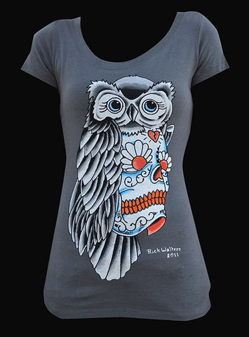 Womans Owl Sugar Skull Scoop Neck Tee - Highway Thirty One
