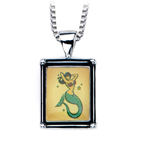 Women's Stainless Steel Necklace with Mermaid Vintage Frame Pendant. - Highway Thirty One
