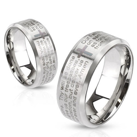 Stainless Steel Laser Etched Lord's Prayer Over Brushed Finished Beveled Edge Ring - Highway Thirty One