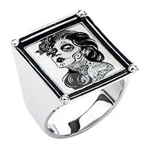 Women's Stainless Steel Day of the Dead-Girl Vintage Frame Ring. - Highway Thirty One - 1