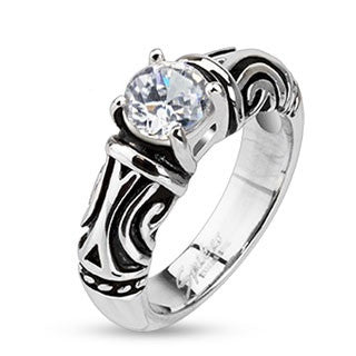 Stainless Steel Clear Simulated Diamond on Prong Setting with Tribal Decorative Cast Ring - Highway Thirty One