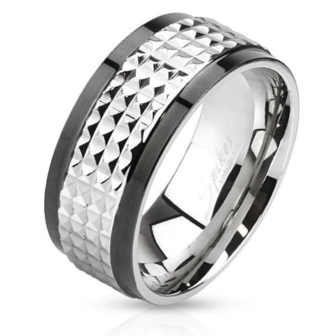 Two toned Stainless Steel Spiked Spinner Ring - Spinning Center - Highway Thirty One