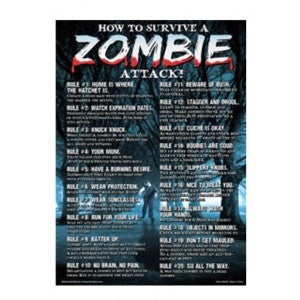 How to survive a Zombie Attack - Metal Sign - Highway Thirty One