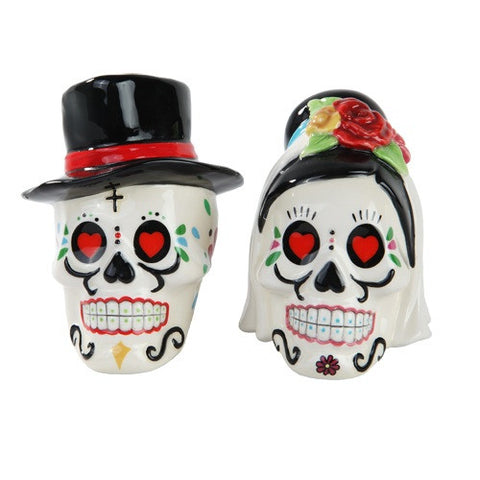 Day of the Dead Wedding Skulls Salt and Pepper Shaker - Highway Thirty One