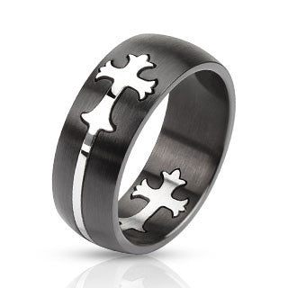 Stainless Steel Two Tone Dome Cut Out Celtic Cross Band Ring - Highway Thirty One