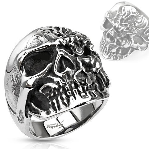 Stainless Steel Wide Two-faced Skull Ring - Highway Thirty One