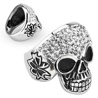 Stainless Steel Grinning Skull with Multi Clear Simulated Diamond & Side View Design Wide Cast Ring - Highway Thirty One