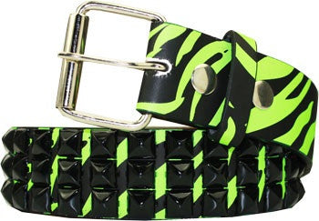 Metal Studded Belt Green Zebra Print - Highway Thirty One