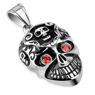 Stainless Steel Smiling Skull with Red CZ Eyes Pendant - Highway Thirty One