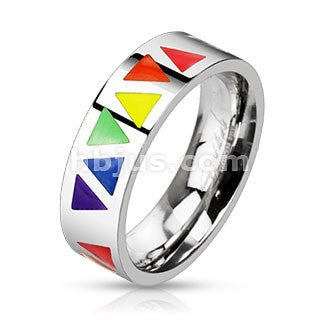 Stainless Steel Multi Rainbow Triangles Band Ring - Highway Thirty One