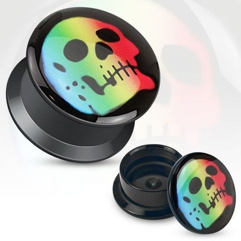 Rainbow Skull Rasta Print Black Acrylic Flat Screw Fit Plug Pair - Highway Thirty One
