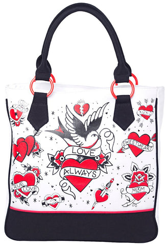 Sourpuss Tattooed Hearts Tote Bag - Highway Thirty One