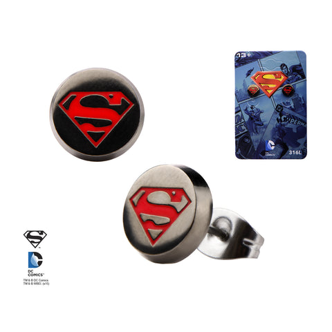 Pair of Stainless Steel Superman Earrings - Highway Thirty One - 1