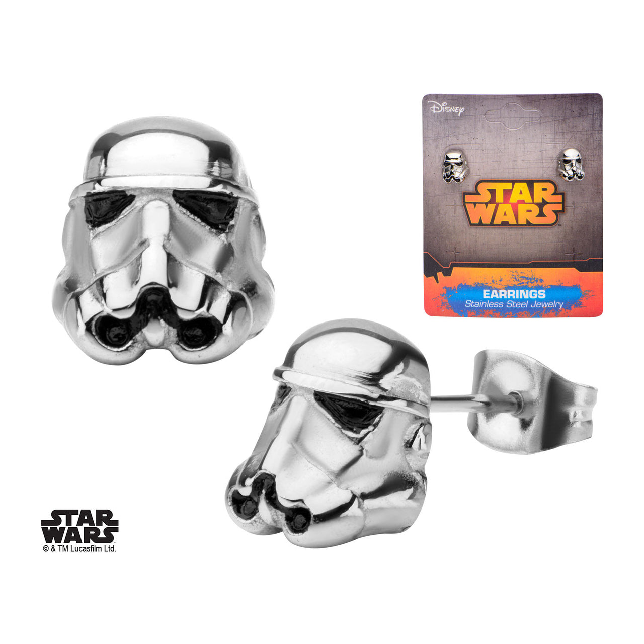 Pair of Stainless Steel Star Wars Storm Trooper Earrings - Highway Thirty One - 1