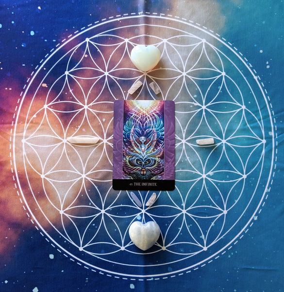(Int.) Tarot Cloth | Crystal Grid Cloth | Altar Cloth | Sacred Geometry | Flower of Life | Galaxy | International Shipping
