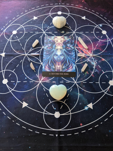 (Int.) Tarot Cloth | Crystal Grid Cloth | Altar Cloth | Sacred Geometry | Metatron Cube | Galaxy | International Shipping
