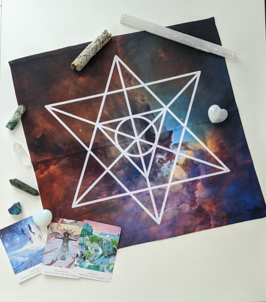 (Int.) Tarot Cloth | Crystal Grid Cloth | Altar Cloth | Sacred Geometry | Merkaba | Galaxy | International Shipping