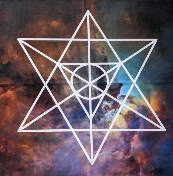 Tarot Cloth | Crystal Grid Cloth | Altar Cloth | Sacred Geometry | Merkaba | Galaxy