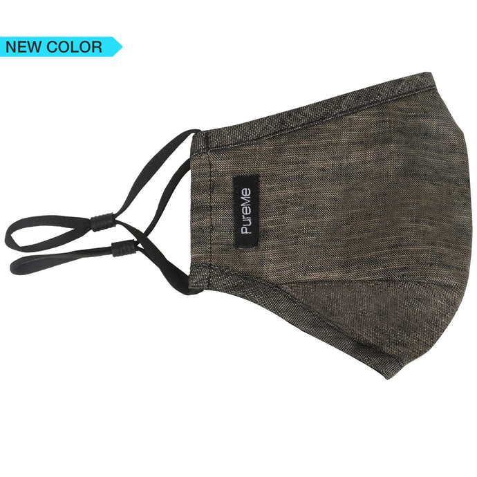 100% Linen Reusable Face Mask with 2 PM2.5 Activated Carbon Filters- Denim Black (Pack of 10)