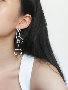 Classic Bunny Rabbit Over Cloud Earring