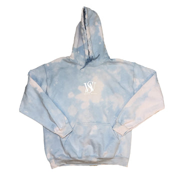 Sky Blue- Bleach Washed Poly/Cotton Logo Hoodie