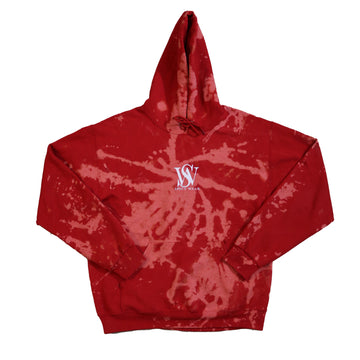 Red- Bleach Washed Poly/Cotton Logo Hoodie
