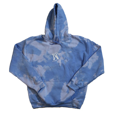 Light Blue- Bleach Washed Poly/Cotton Logo Hoodie