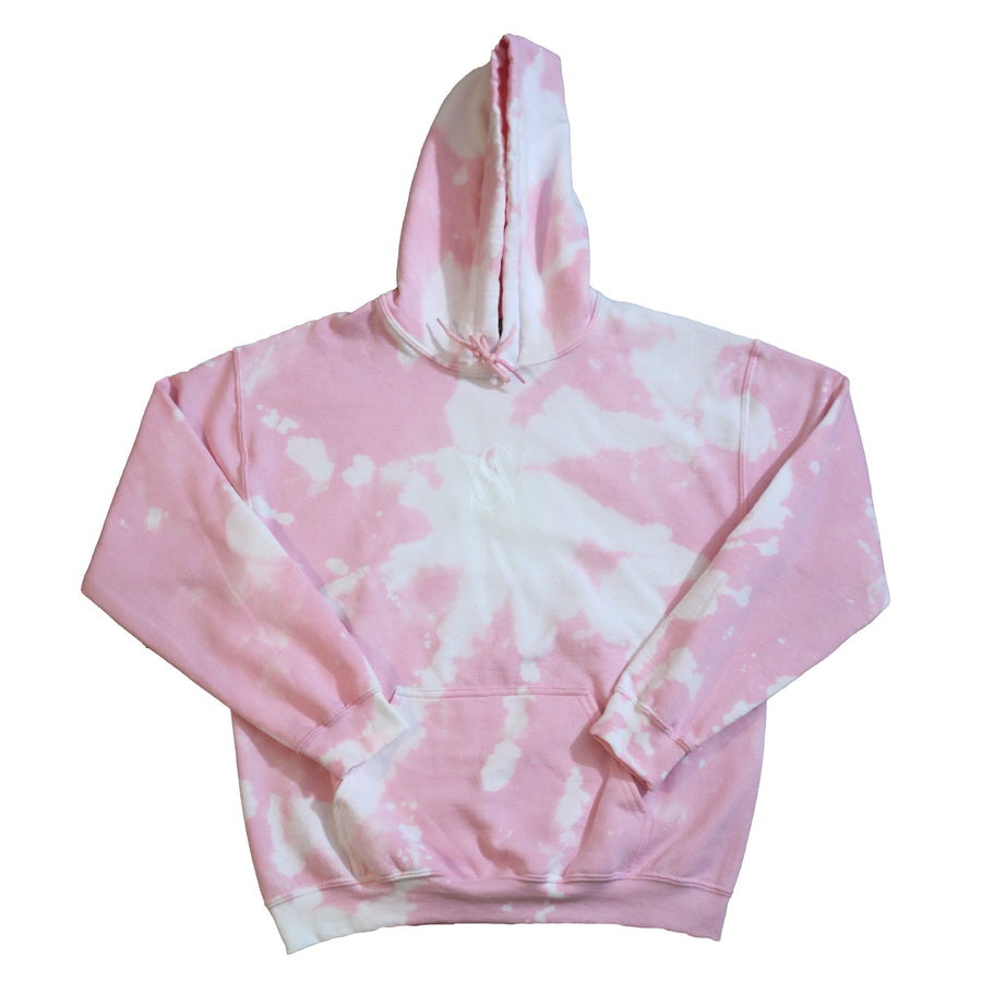 Light Pink- Bleach Washed Poly/Cotton Logo Hoodie
