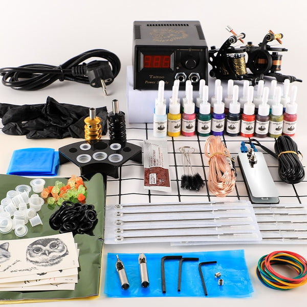 Tattoo Kit 2 Tattoo Machines Gun 20pc Ink Power Supply Tattoo Grips  Body Art Tools Complete Tattoo Set Accessories Supplies on AliExpress - 11.11_Double 11_Singles' Day